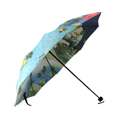 Hiroshige Moon Over Waterfall Vintage Japanese Foldable Umbrella