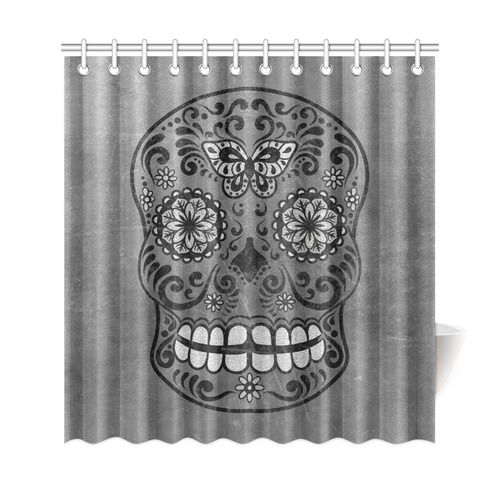 Dark Gothic Silver Grey Sugar Skull Shower Curtain 69x72
