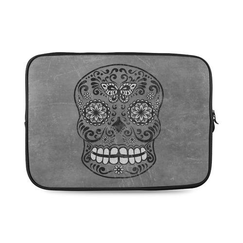 3897a2ab2185 Dark gothic silver grey sugar skull Custom Laptop Sleeve 14''
