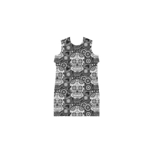 sugar skull Short Sleeves Casual Dress(Model D14)