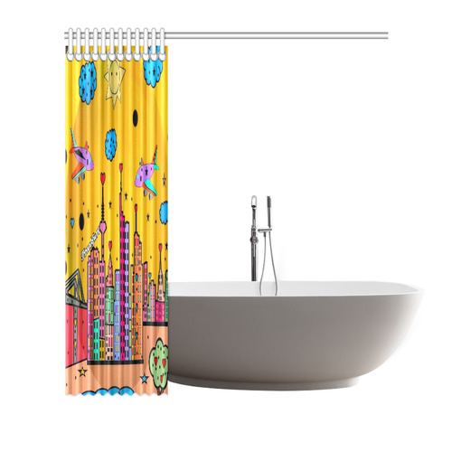 "Frankfurt Popart by Nico Bielow Shower Curtain 72""x72"""