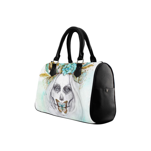 Sugar Skull Girl Mint Gold Boston Handbag (Model 1621)
