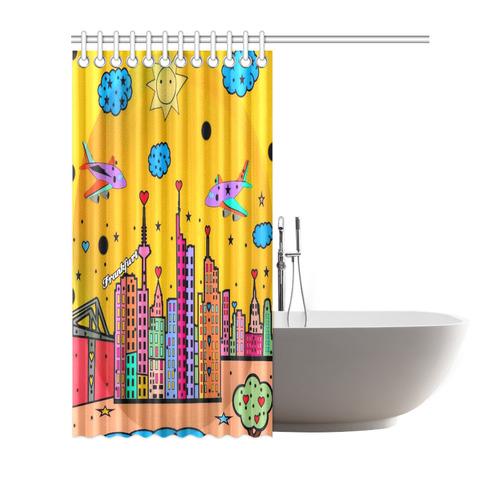 """Frankfurt Popart by Nico Bielow Shower Curtain 72""""x72"""""""