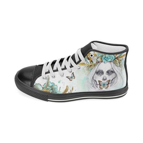 d3f5fcbd60a0 Sugar Skull Girl Mint Gold Women s Classic High Top Canvas Shoes (Model  017)