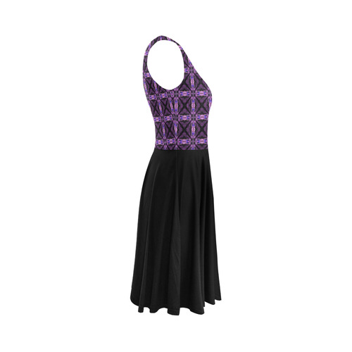 Black and Purple Floral Sleeveless Ice Skater Dress (D19)