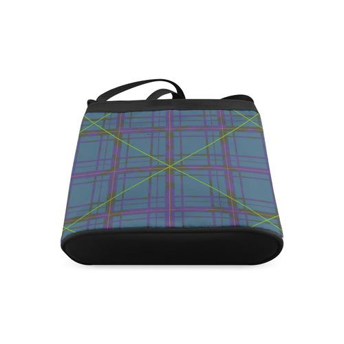 Neon Plaid Modern Design black Crossbody Bags (Model 1613)