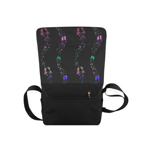 Rainbow Butterflies Black Messenger Bag (Model 1628)