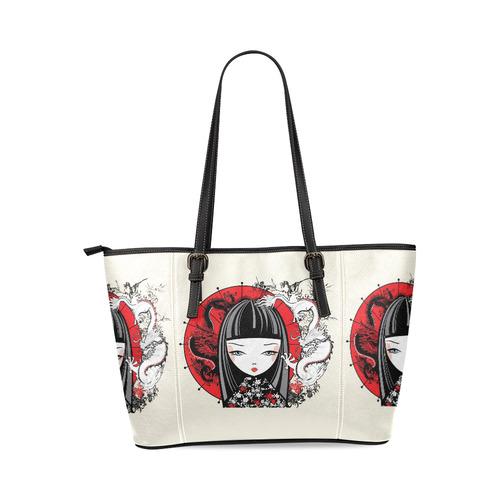 Japanese girl Leather Tote Bag/Large (Model 1640)