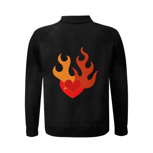 FLAMING HEART Men's Baseball jacket (Model H12)