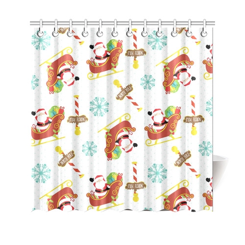 "Santa's Sleigh Shower Curtain 69""x70"""