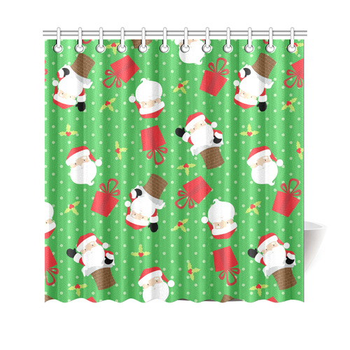 "Santa Claus - Green Shower Curtain 69""x70"""