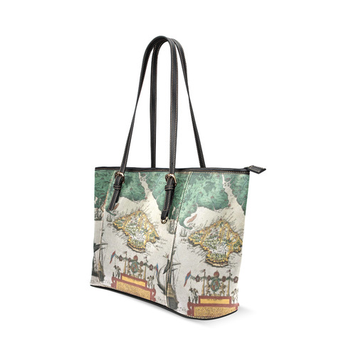 Isle of Wight old map ans southern England Leather Tote Bag/Large (Model 1640)
