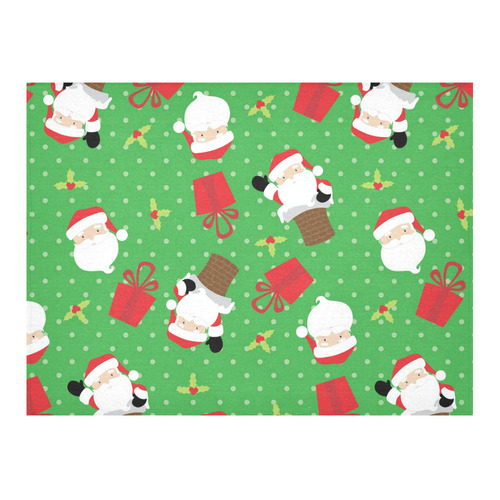 "Santa Claus - Green Cotton Linen Tablecloth 52""x 70"""