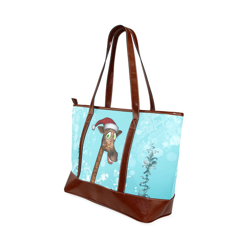 Funny christmas giraffe Tote Handbag (Model 1642)
