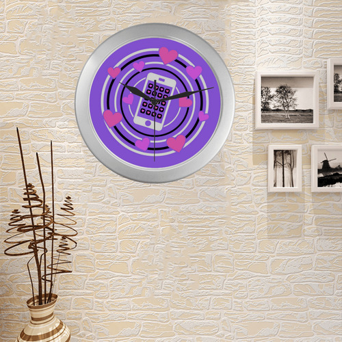 I Love My Phone in Pink and Purple Silver Color Wall Clock