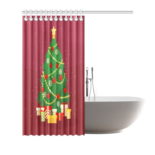 "Christmas Tree with Christmas Gifts Holiday Shower Curtain 72""x72"""