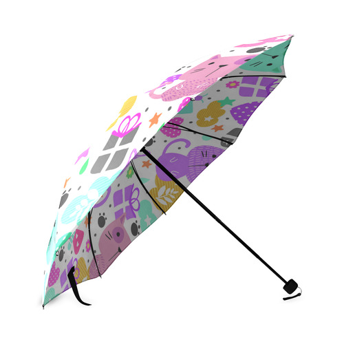 Cute Cats Hearts Flowers Christmas Gifts Foldable Umbrella