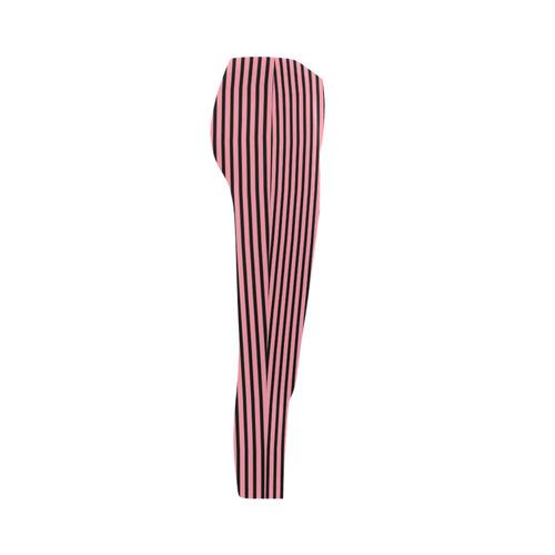 Pink and Black Horizontal Stripes Capri Legging (Model L02)