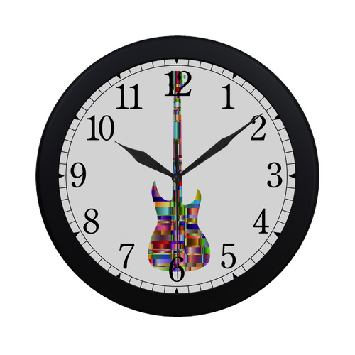 Abstract Squares Guitar Circular Plastic Wall clock