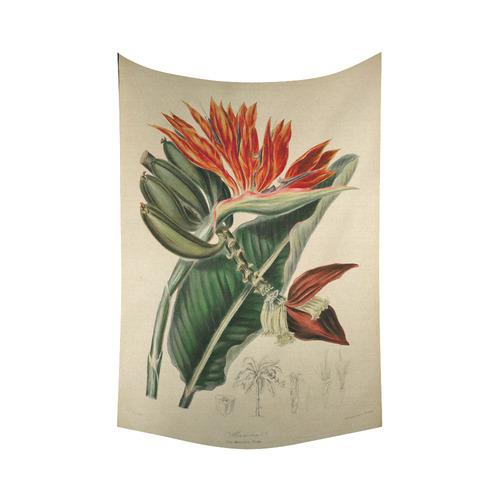 "Bird of Paradise Vintage Botanical Print Cotton Linen Wall Tapestry 60""x 90"""