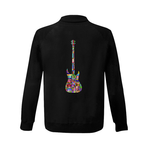 Abstract Squares Guitar Women's Baseball Jacket (Model H12)