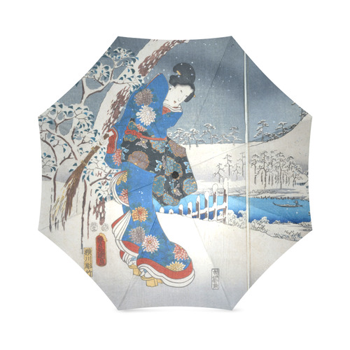 Tale of Genji Toyokuni Hiroshige Japanese Woman Foldable Umbrella