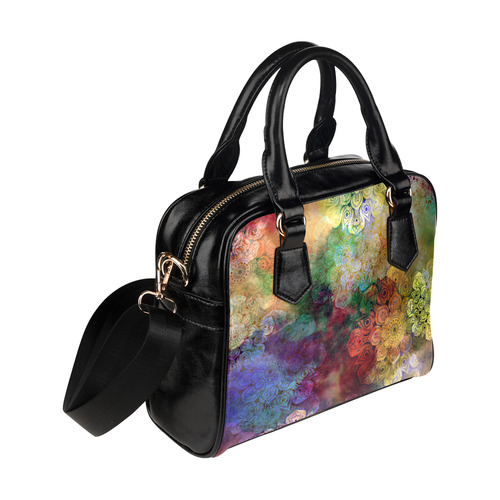 WATERCOLOR MANDALA dark grunge style pattern Shoulder Handbag (Model 1634)