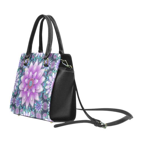 Lotus Flower Ornament - Purple and turquoise Classic Shoulder Handbag (Model 1653)