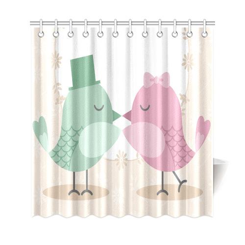 Cute Pink Green Love Birds Shower Curtain 69x72