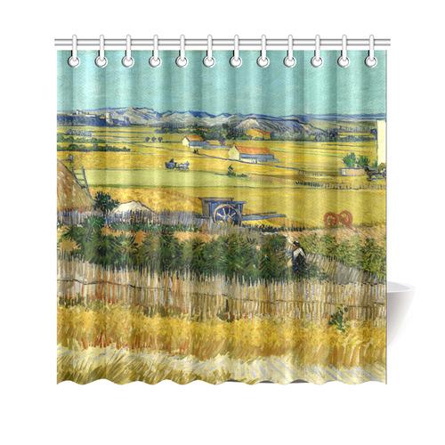 Van Gogh Harvest At La Crau Shower Curtain 69x70