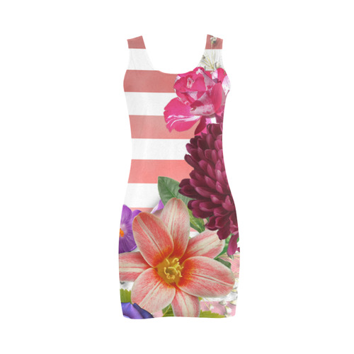 Flowers and Pink Stripes Medea Vest Dress (Model D06)