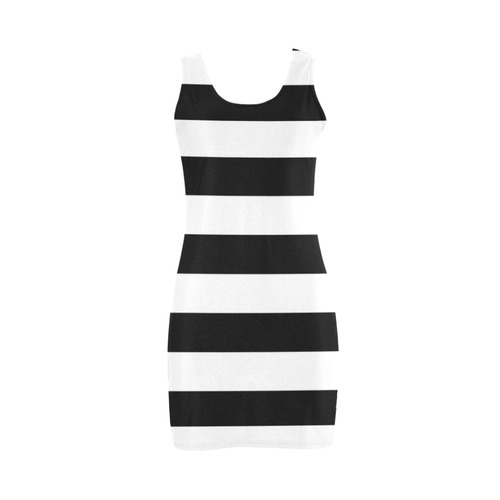 Black and White Horizontal Stripes Medea Vest Dress (Model D06)