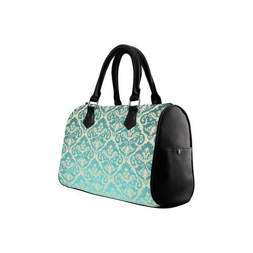 Teal Damask Beige Background Boston Handbag (Model 1621)