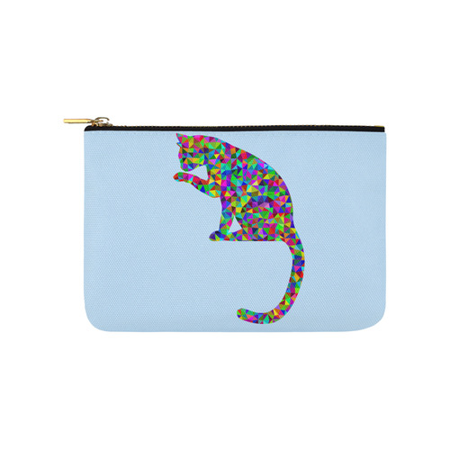 Sitting Kitty Abstract Triangle Blue Carry-All Pouch 9.5''x6''