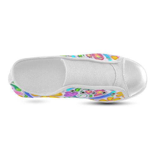Funny Colorful Flowers Canvas Kid's Shoes (Model 016)