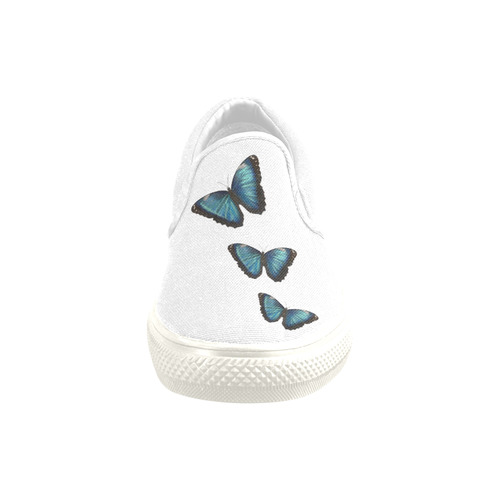 Morpho hyacintus butterflies painting Women's Unusual Slip-on Canvas Shoes (Model 019)