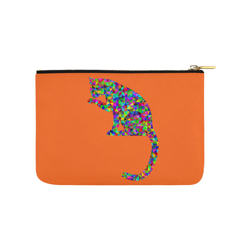 Sitting Kitty Abstract Triangle Orange Carry-All Pouch 9.5''x6''