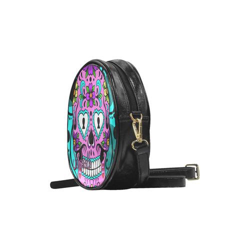 """Colorful Sugar Skull"" by Skinderella Round Sling Bag (Model 1647)"