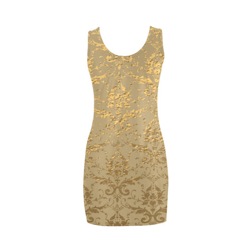 Gold Metallic Damask Beige Medea Vest Dress (Model D06)