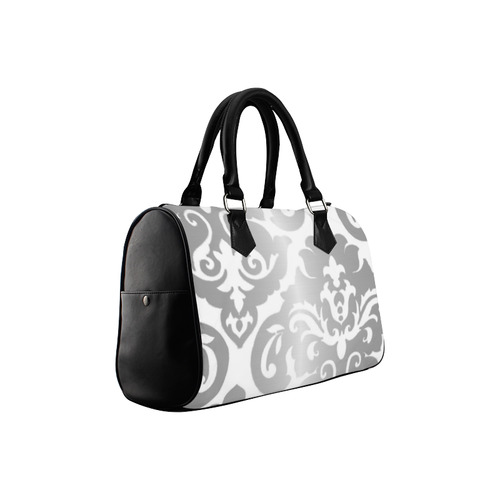 Silver Metallic Large Damask Boston Handbag (Model 1621)