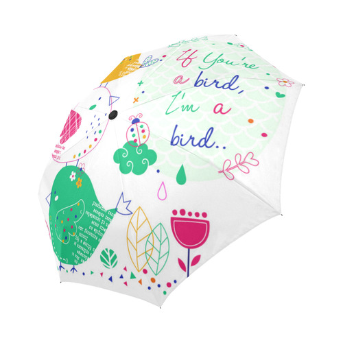 Cute Funny Birds Ladybug Flowers Floral Auto-Foldable Umbrella (Model U04)