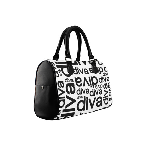 Diva Repeated Typography Boston Handbag (Model 1621)