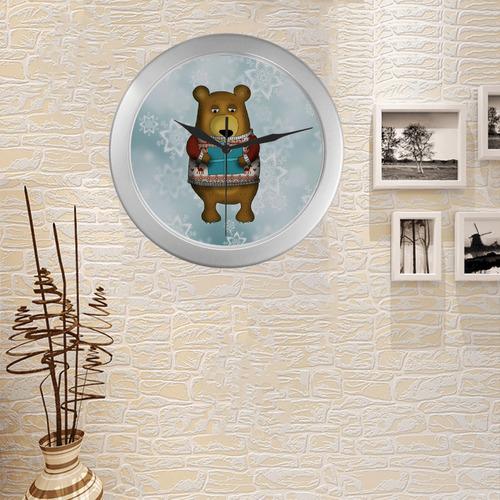winter bear illustration art cute animal christmas Silver Color Wall Clock
