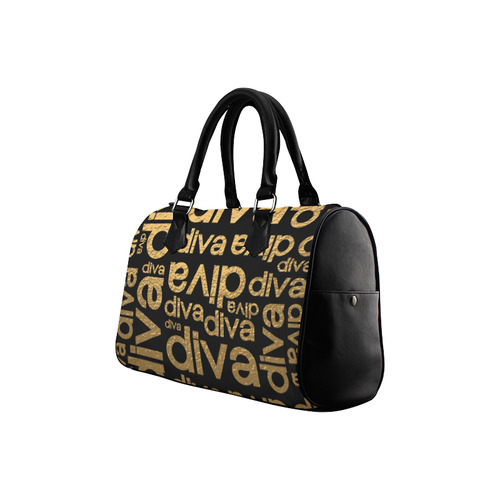 Diva Gold Metallic Repeated Typography Boston Handbag (Model 1621)