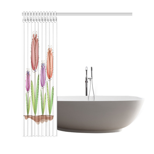 "Beautiful Modern Tulip Field Floral Shower Curtain 69""x72"""