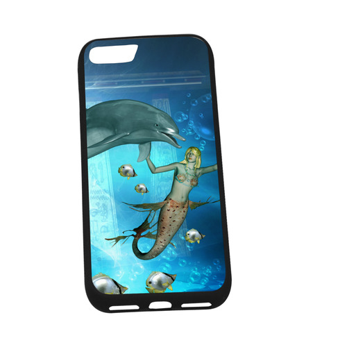 """Underwater, dolphin with mermaid Rubber Case for iPhone 7 (4.7"""")"""