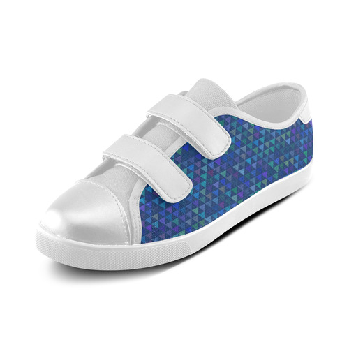 Triangles - Dark Blue Velcro Canvas Kid's Shoes (Model 008)