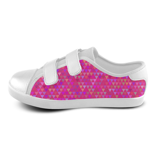 Triangles - Pink (1) Velcro Canvas Kid's Shoes (Model 008)