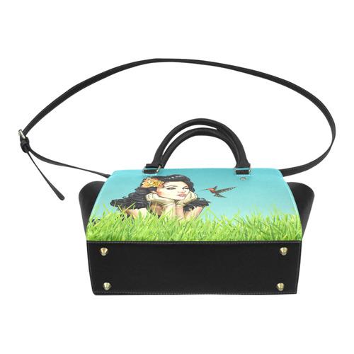 Retro Pinup Girl Smooching & Hummingbird Classic Shoulder Handbag (Model 1653)