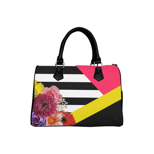 Geometric Shapes Flowers & Stripes Boston Handbag (Model 1621)